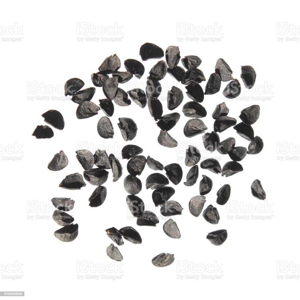 Seeds of bunching onion (Allium fistulosum) isolated on white background stock photo
