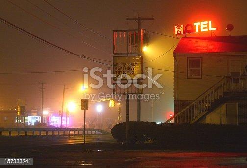Seedy Motel shrouded in Fog