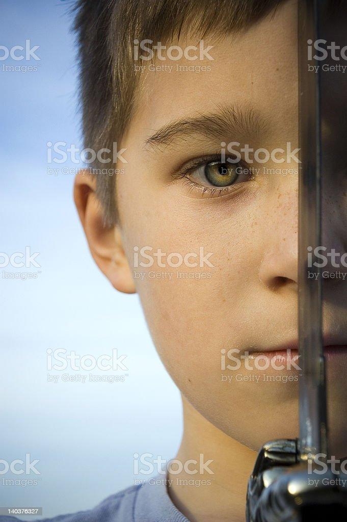 Seeing threw his eyes stock photo