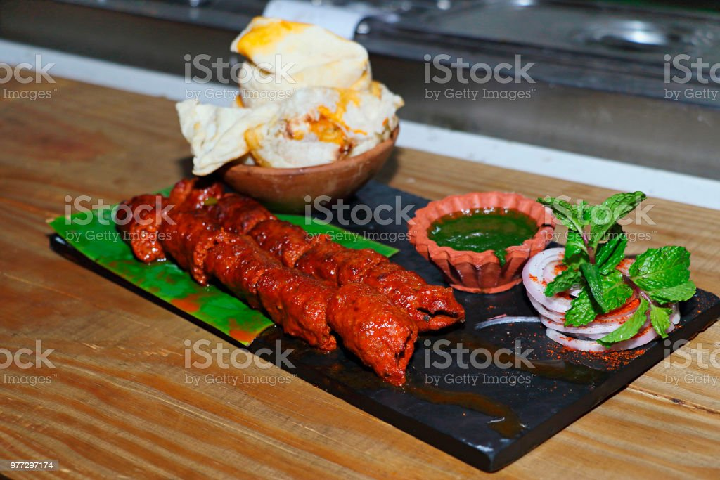 Seekh Kebabs with sauce stock photo