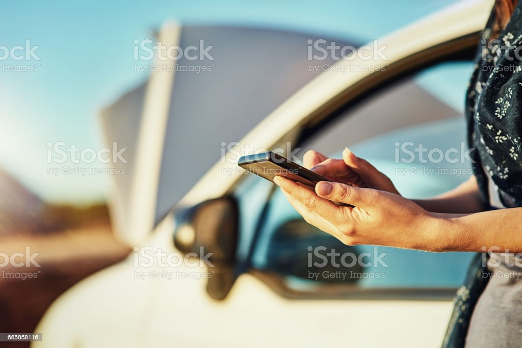 Seeking emergency roadside assistance stock photo