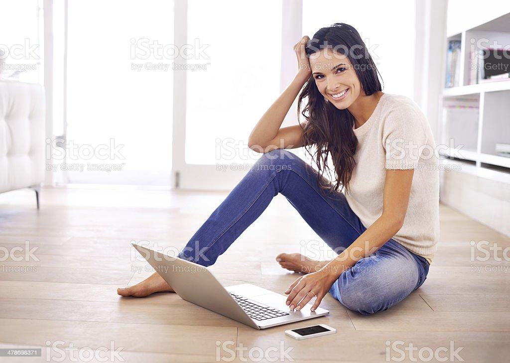 Seeking inspiration for her blog stock photo