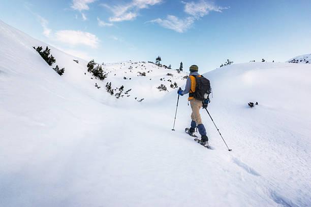 en quête de paix et de calme accès dans les alpes - raquette photos et images de collection