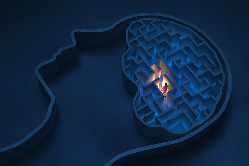 Seeking solutions in the maze-shaped human brain, 3D - Computer generated image
