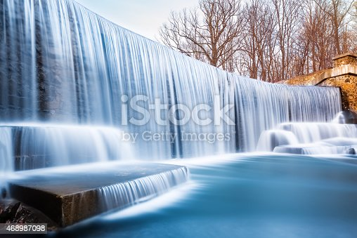 Seeley's Pond waterfall, in New Jersey. The very long exposure and the natural motion blur creates an artistic smooth and silky effect on the falling water.