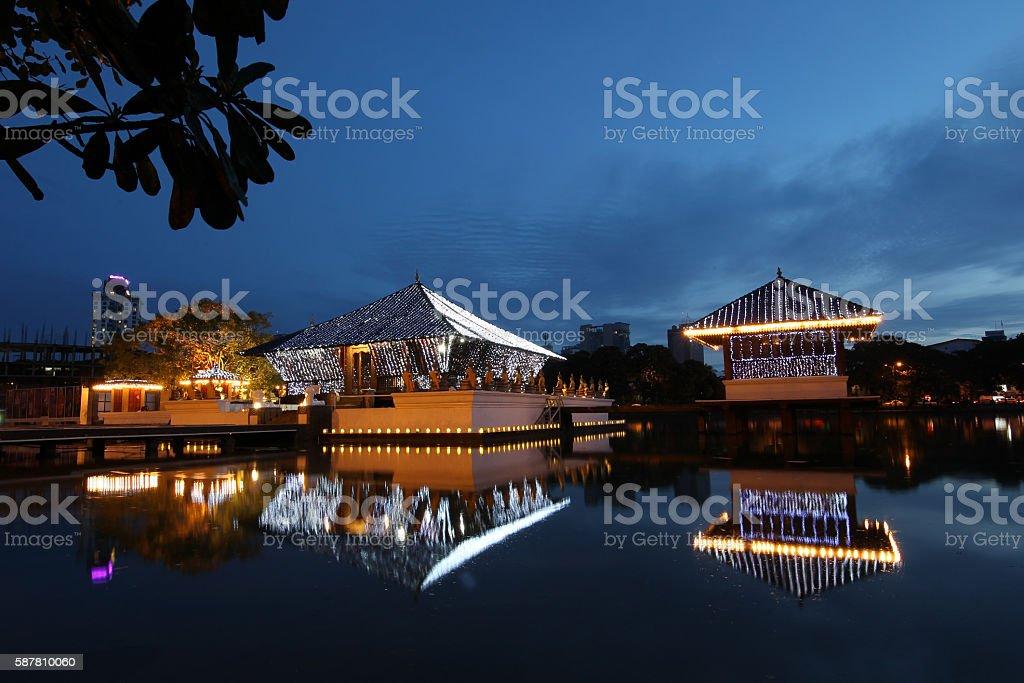 Seema Malaka temple on Beira Lake. Colombo, Sri Lanka stock photo