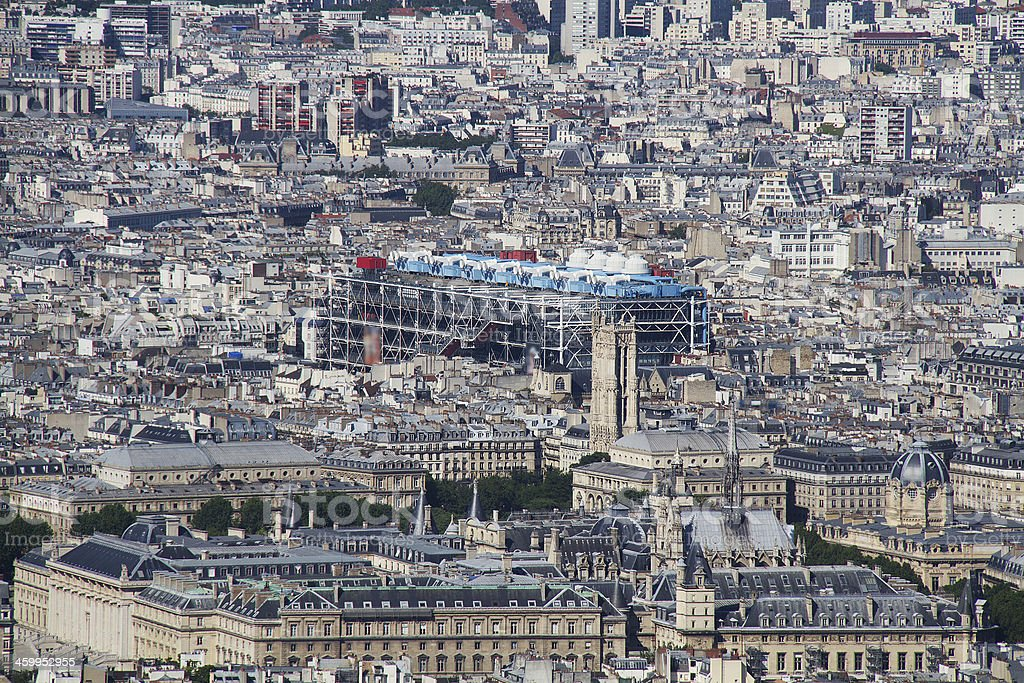 seen on the saint-Jacques Tower and Georges Pompidou Center stock photo