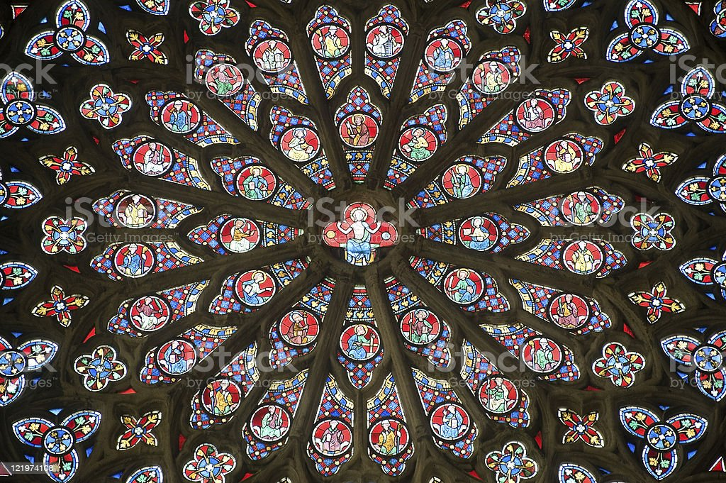 Sees (Normandy, France): Interior of the gothic cathedral, rose window stock photo