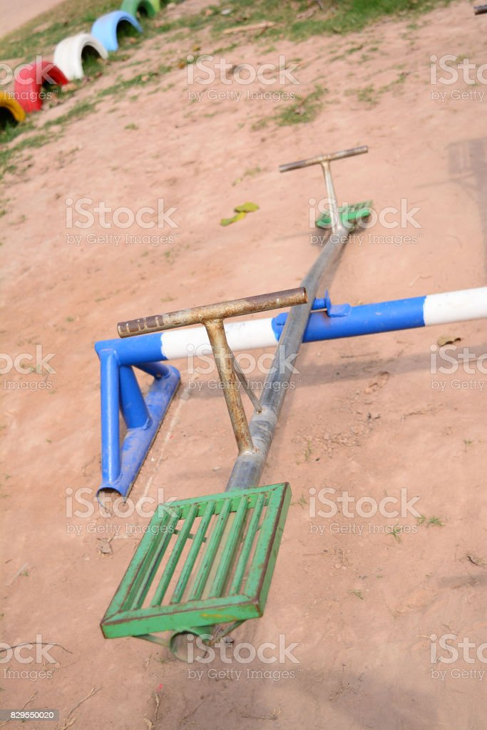 seesaw board on playground  at school stock photo