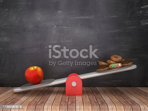 Seesaw Scale with Apple and Donuts on Chalkboard Background - 3D Rendering