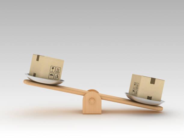 Wippe Skala mit Kartons - 3D Rendering – Foto
