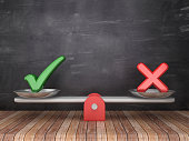 Seesaw Scale with Check and Cross Symbols on Chalkboard Background - 3D Rendering