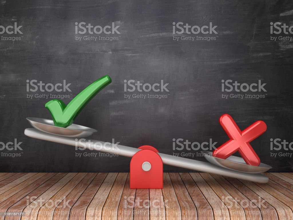Seesaw Scale with Check and Cross Symbols on Chalkboard Background - 3D Rendering stock photo