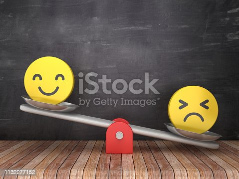 Seesaw Scale with Emoticons on Chalkboard Background - 3D Rendering
