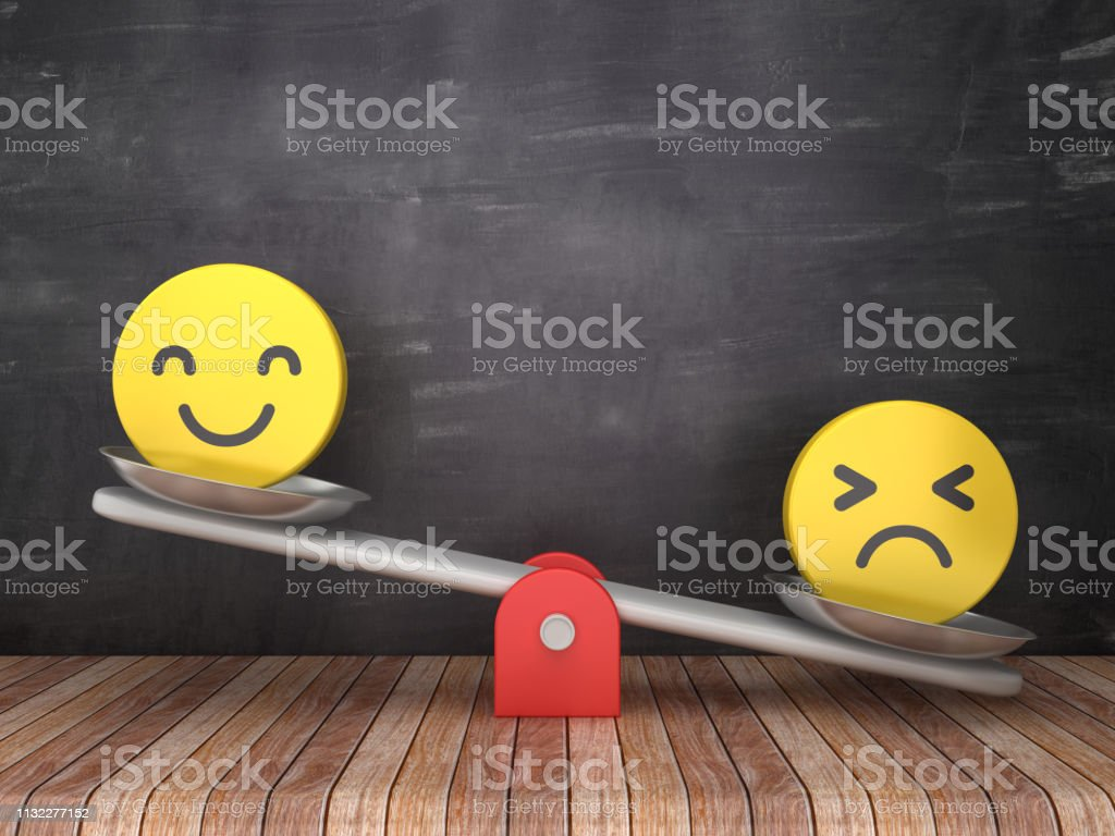 Seesaw Scale with Emoticons on Chalkboard Background - 3D Rendering stock photo