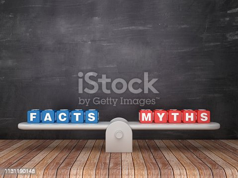 922107104istockphoto Seesaw Scale with FACTS MYTHS Cubes on Chalkboard Background - 3D Rendering 1131190148