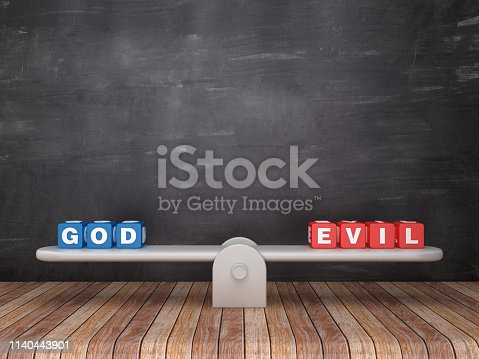 Seesaw Scale with GOD EVIL Cubes on Chalkboard Background - 3D Rendering