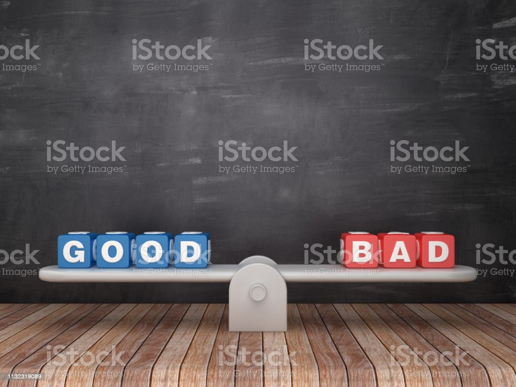 Seesaw Scale with GOOD BAD Cubes on Chalkboard Background - 3D Rendering stock photo