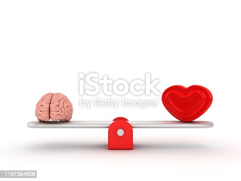 Seesaw Scale with Human Brains and Heart - 3D Rendering