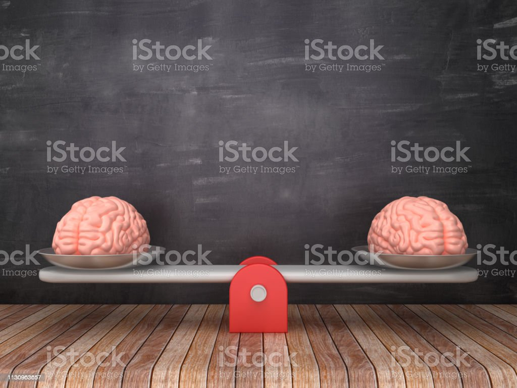 Seesaw Scale with Human Brains on Chalkboard Background - 3D Rendering Seesaw Scale with Human Brains on Chalkboard Background - 3D Rendering Anatomy Stock Photo