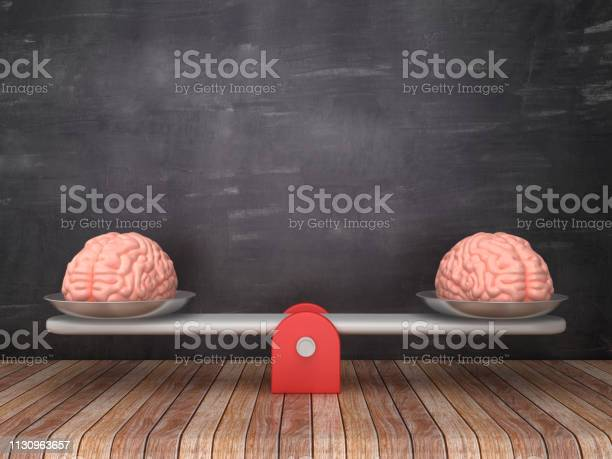 Seesaw Scale With Human Brains On Chalkboard Background 3d Rendering Stock Photo - Download Image Now