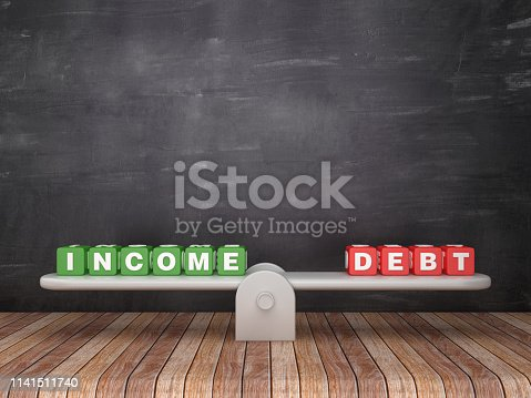 Seesaw Scale with INCOME DEBT Cubes on Chalkboard Background - 3D Rendering