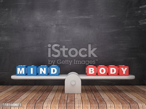 Seesaw Scale with MIND BODY Cubes on Chalkboard Background - 3D Rendering
