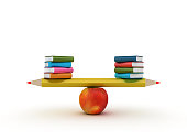 Seesaw Scale with Pencil Apple and Books - 3D Rendering
