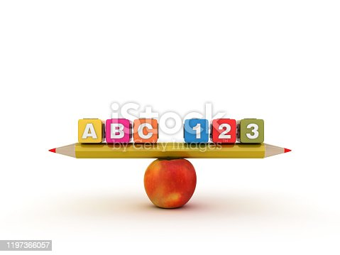 istock Seesaw Scale with Pencil Apple and Toy Cubes - 3D Rendering 1197366057