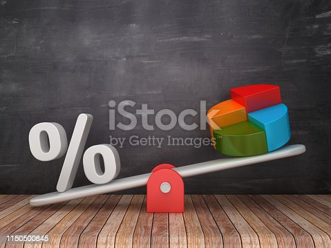 Seesaw Scale with Percentage Sign and Pie Chart on Chalkboard Background - 3D Rendering