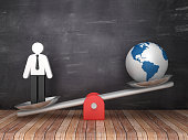 Seesaw Scale with Pictogram Person and Globe World on Chalkboard Background - 3D Rendering