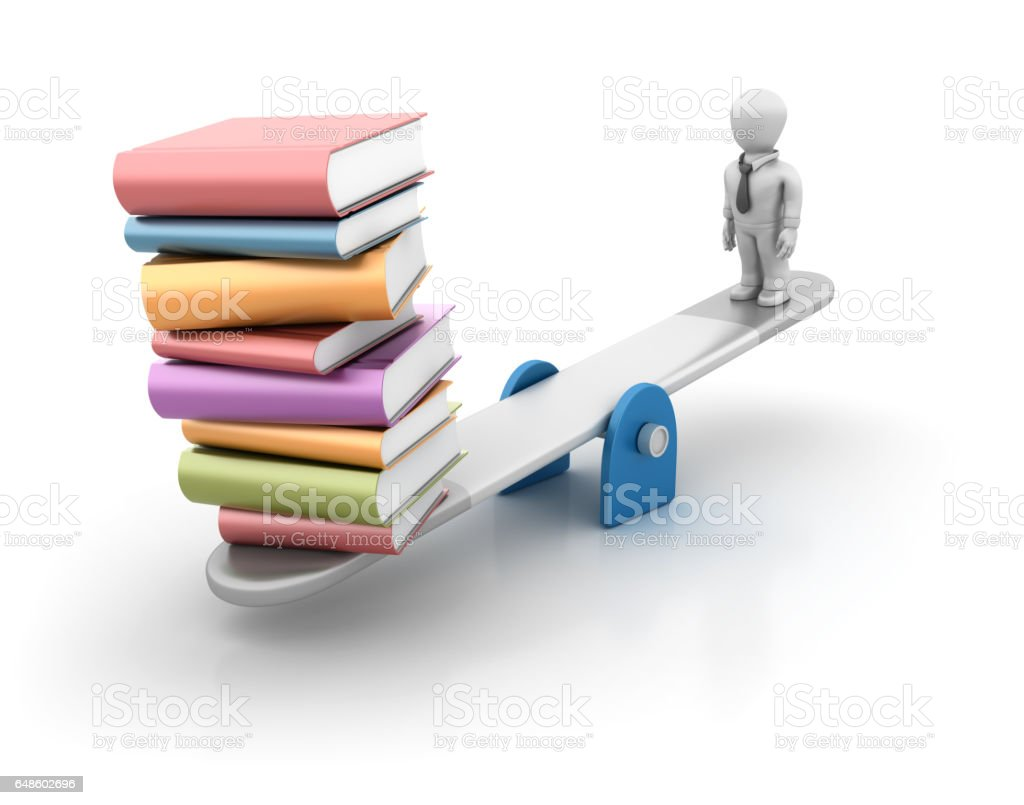 Seesaw with Books and Business Person - 3D Rendering - foto stock