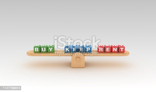 Seesaw with BUY KEEP RENT Buzzword Cubes - Gradient Background - 3D Rendering