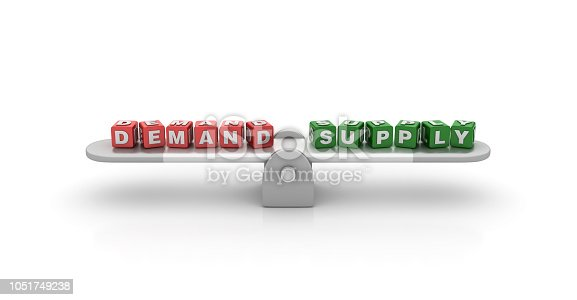 Seesaw with Demand Supply Buzzword Cubes - White Background - 3D Rendering