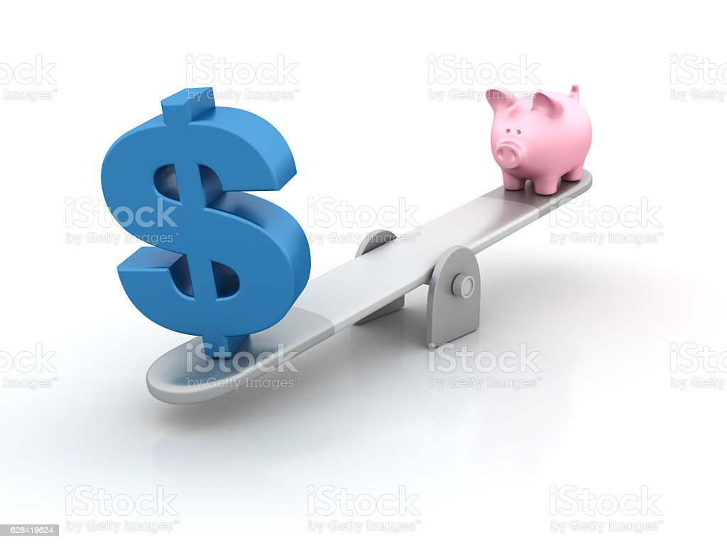 Seesaw with Dollar Sign and Piggy Bank - 3D Rendering stock photo