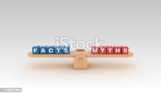 922107104istockphoto Seesaw with FACTS MYTHS Buzzword Cubes - 3D Rendering 1146651983