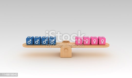 Seesaw with Gender Symbols Buzzword Cubes - Gradient Background - 3D Rendering