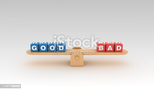 Seesaw with GOOD BAD Buzzword Cubes - Gradient Background - 3D Rendering