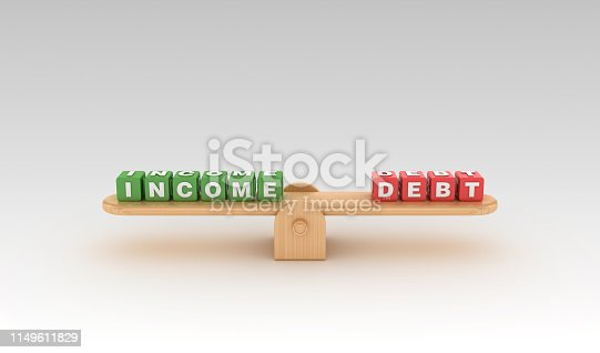 Seesaw with INCOME DEBT Buzzword Cubes - Gradient Background - 3D Rendering