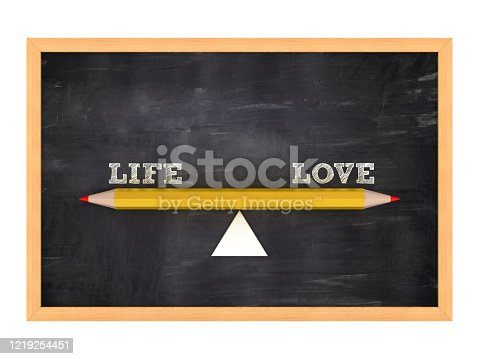Seesaw with LIFE LOVE Words on Chalkboard Frame - 3D Rendering