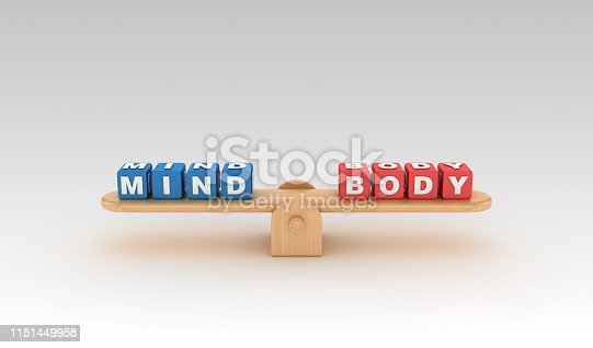 Seesaw with MIND BODY Buzzword Cubes - Gradient Background - 3D Rendering