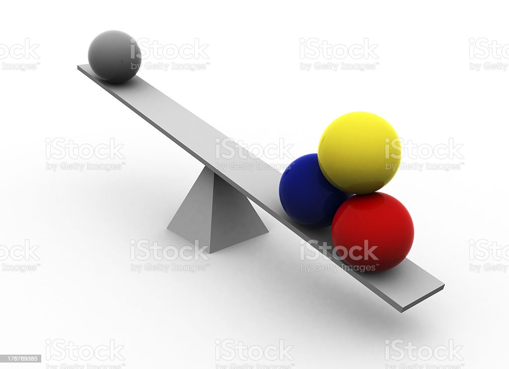 Seesaw With Multicolored Balls royalty-free stock photo