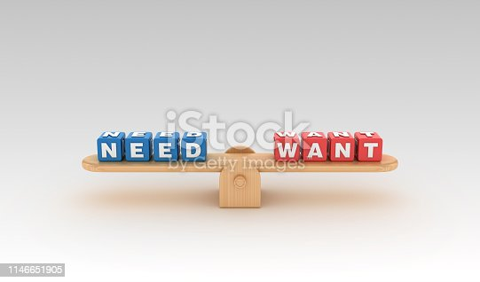 Seesaw with NEED WANT Buzzword Cubes - Gradient Background - 3D Rendering