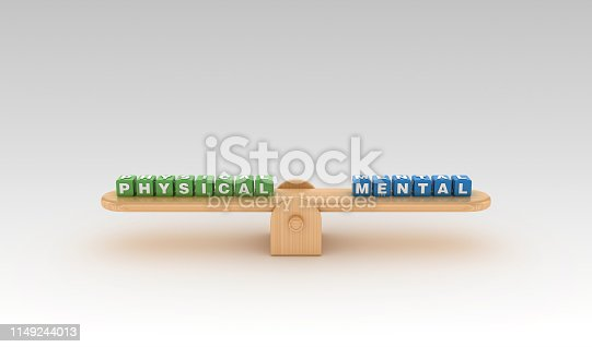 Seesaw with PHYSICAL MENTAL Buzzword Cubes - Gradient Background - 3D Rendering