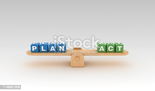 Seesaw with PLAN ACT Buzzword Cubes - Gradient Background - 3D Rendering