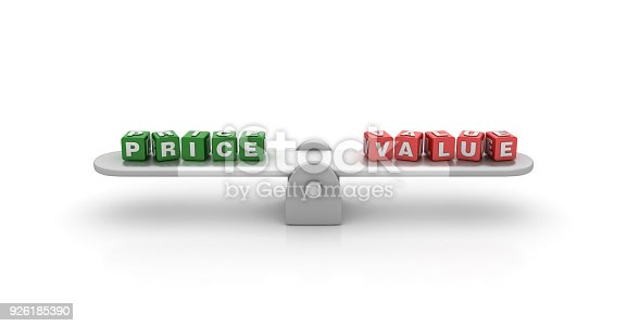 istock Seesaw with Price Value Buzzword Cubes - 3D Rendering 926185390
