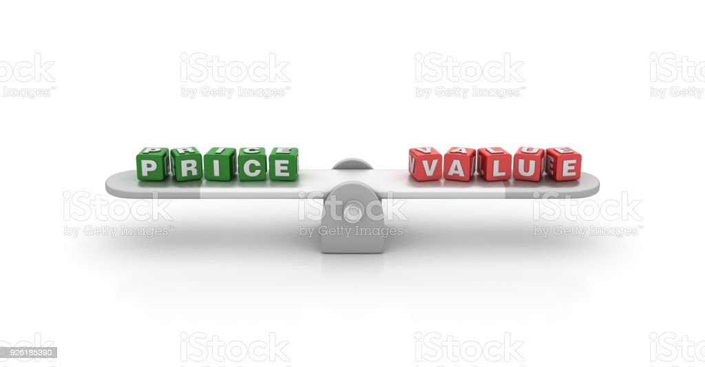 Seesaw with Price Value Buzzword Cubes - 3D Rendering stock photo