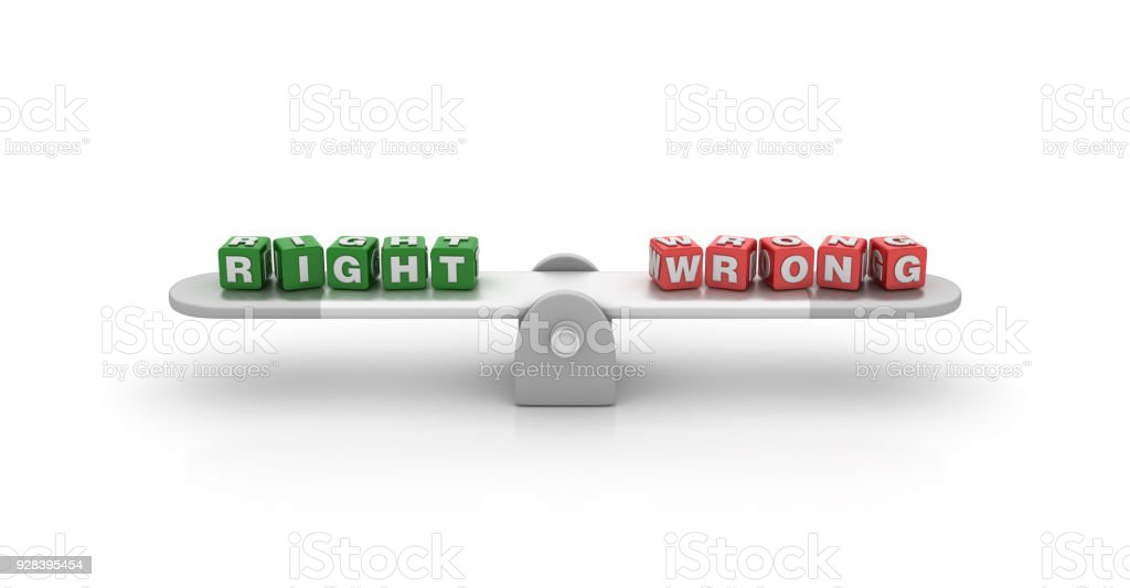 Seesaw with Right Wrong Buzzword Cubes - 3D Rendering stock photo