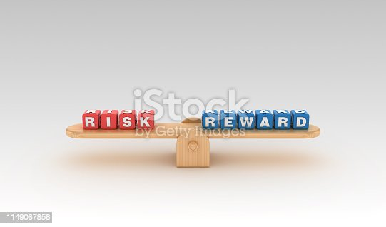 Seesaw with RISK REWARD Buzzword Cubes - Gradient Background - 3D Rendering