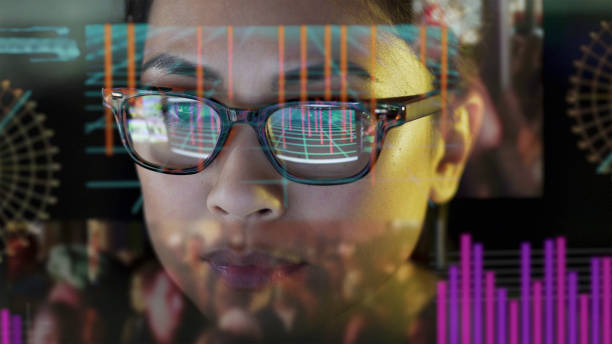 see-thru data screen watcher. - environmental consciousness stock pictures, royalty-free photos & images